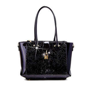 Rose Imprint Leather Bag Women - Bags - Totes Brangio Black