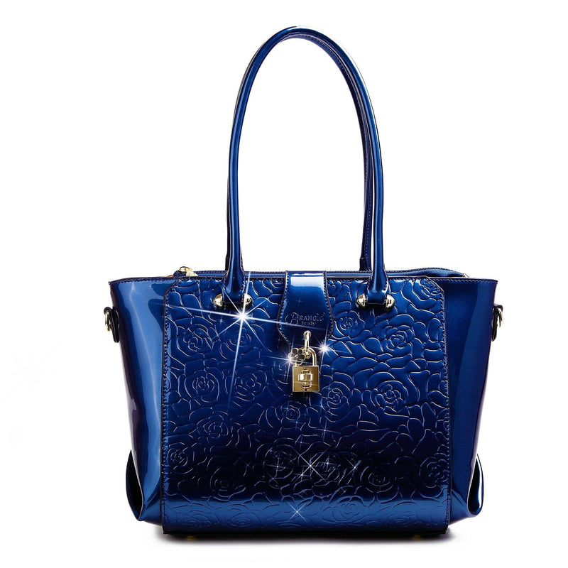 Rose Imprint Leather Bag Women - Bags - Totes Brangio Blue