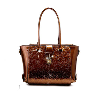 Rose Imprint Leather Bag Women - Bags - Totes Brangio Bronze