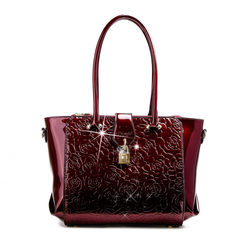Rose Imprint Leather Bag Women - Bags - Totes Brangio Burgundy