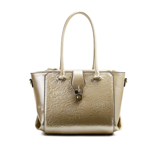 Rose Imprint Leather Bag Women - Bags - Totes Brangio Ivory
