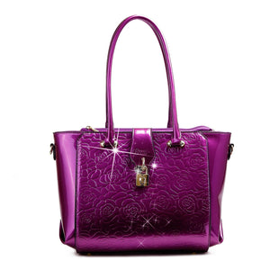 Rose Imprint Leather Bag Women - Bags - Totes Brangio Purple