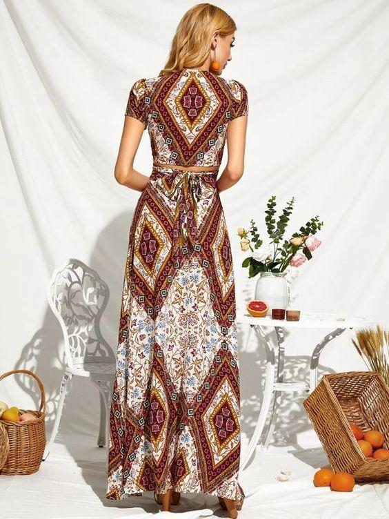 Scarf Print Two Piece Wrap Top & High Slit Maxi Skirt Revenge Fashion Boutique