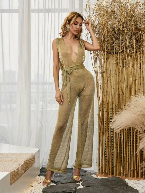 Sheer Glitter Jumpsuit with Hood Revenge Fashion Boutique