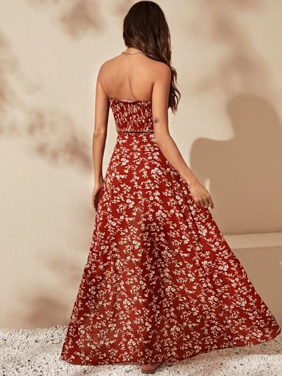 Shirred Bodice Floral Print Wrap Maxi Dress Revenge Fashion Boutique