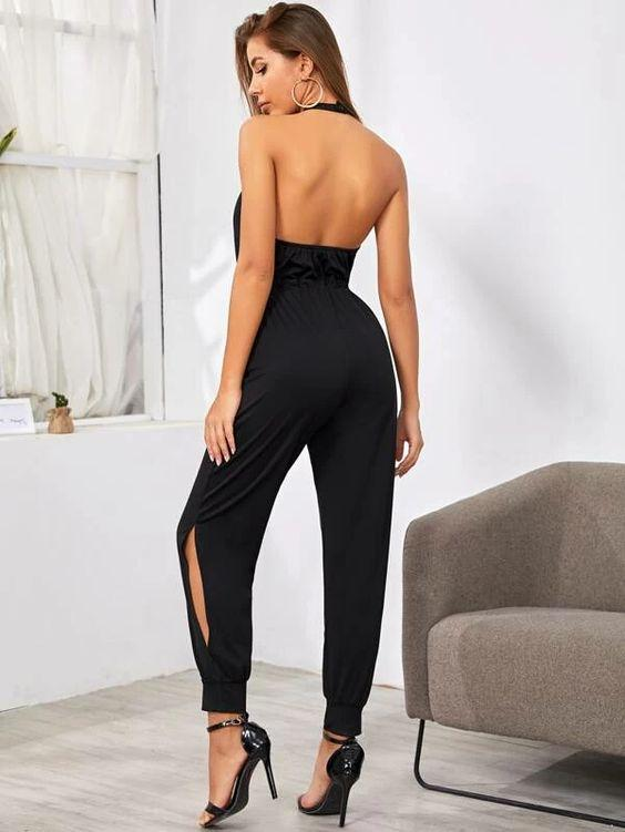 Sporty Drawstring Split Calf Jumpsuit Revenge Fashion Boutique