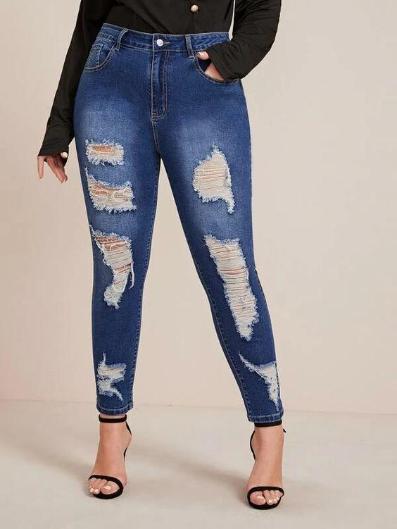 Stretch Bleached Wash Ripped Skinny Jeans SHN