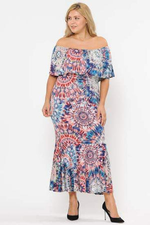 Stretch Boho Chic Off Shoulder Mermaid Dress Faire-RK Apparel