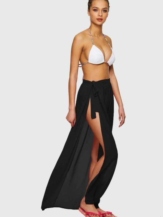 Tie Side Sheer Cover Up Skirt Revenge Fashion Boutique