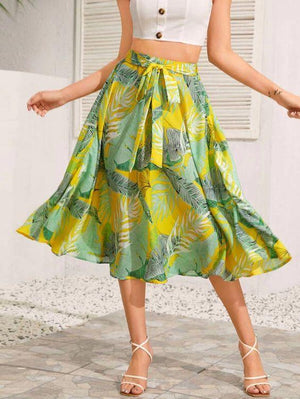 Tropical Print Belted Flare Skirt Revenge Fashion Boutique