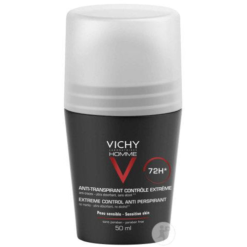 Vichy Homme Roll On Deodorant Sensitive Skin 72H-Luxurious Scents