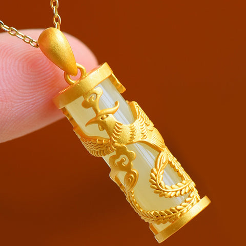 White Jade Dragon and Phoenix Wealth Necklace