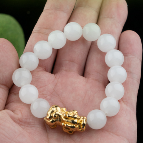 White Jade Pixiu Wealth Bracelet