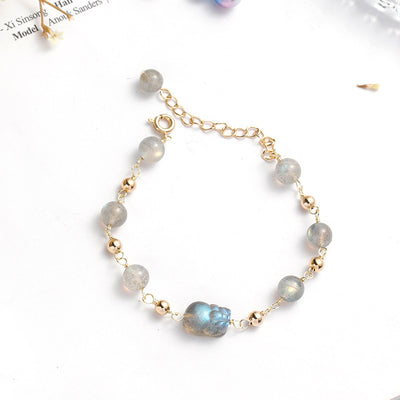 Moonstone Pixiu Good Luck Bracelet