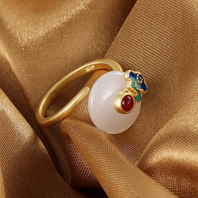 Auspicious Cloud White Jade Endless Luck Ring
