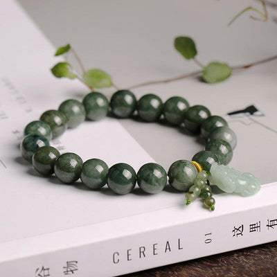 Natural Green Jade Fortune Pixiu Bracelet - Buddha Prayers Shop