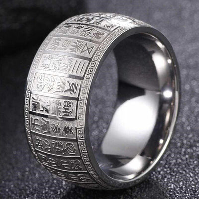 Chinese Buddhism Heart Sutra Scripture Stainless Steel Ring - Buddha Prayers Shop