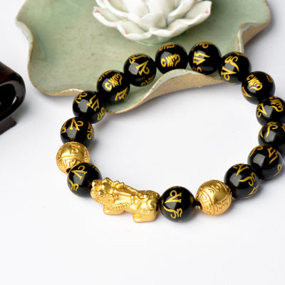 Feng Shui Black Obsidian Wealth Bracelet - Buddha Prayers Shop
