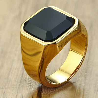 Dignified Black Carnelian Golden Square Signet Wealth Ring - Inner Manifestation
