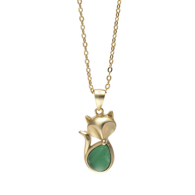Natural Green Chalcedony Charm Necklace
