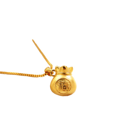 Lucky Money Bag Gold Necklace