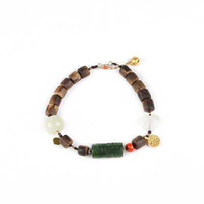Agarwood and Jade Good Luck Bracelet