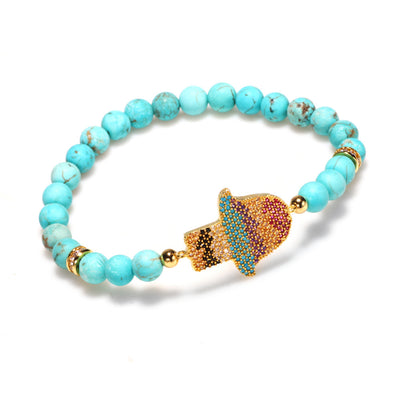 Natural Turquoise Protection Bracelet - Buddha Prayers Shop
