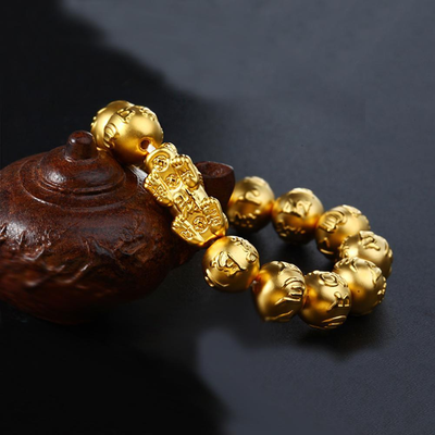 Gold Pixiu Wealth Mantra Bracelet