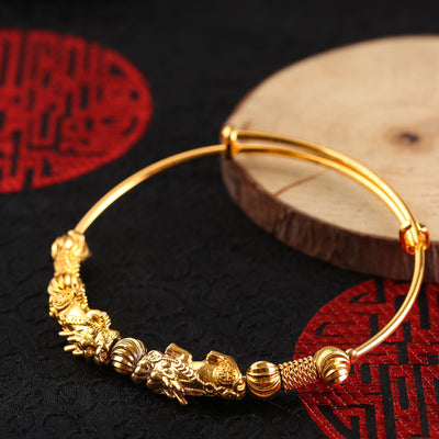 Double Pixiu Gold Wealth Bangle - Buddha Prayers Shop
