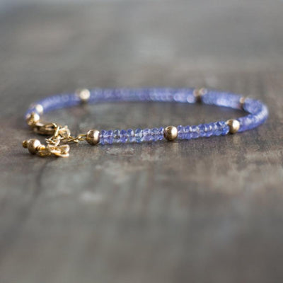 Natural Tanzanite Charm Bracelet