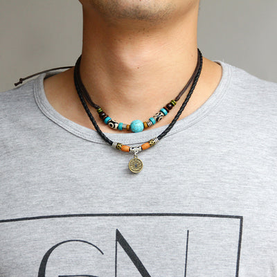 Turquoise and Lucky Coin Pendant Necklace