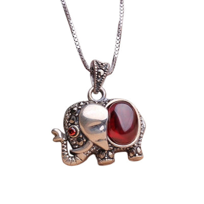 Elephant Symbol Red Garnet Necklace - Inner Manifestation