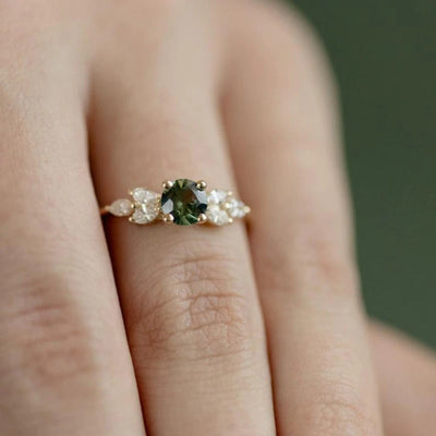 Elegant Green Crystal Zircon Ring