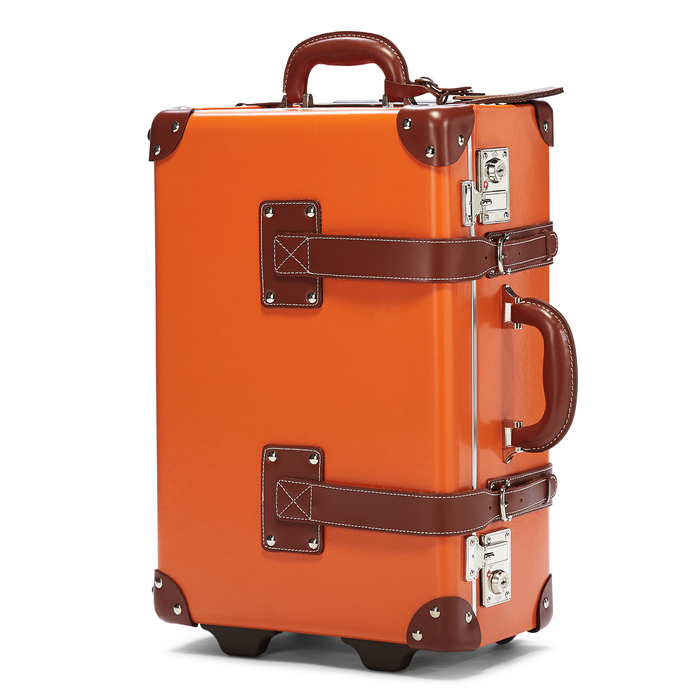 The Anthropologist Carryon in Orange - Vintage Style Leather Case - Exterior Front