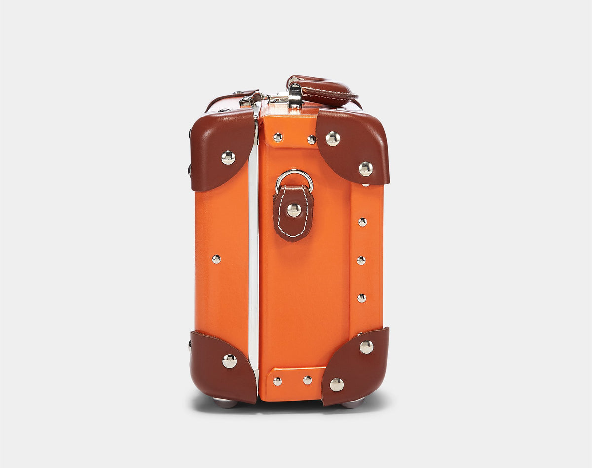 The Anthropologist Vanity in Orange - Vintage Style Leather Case - Exterior Side
