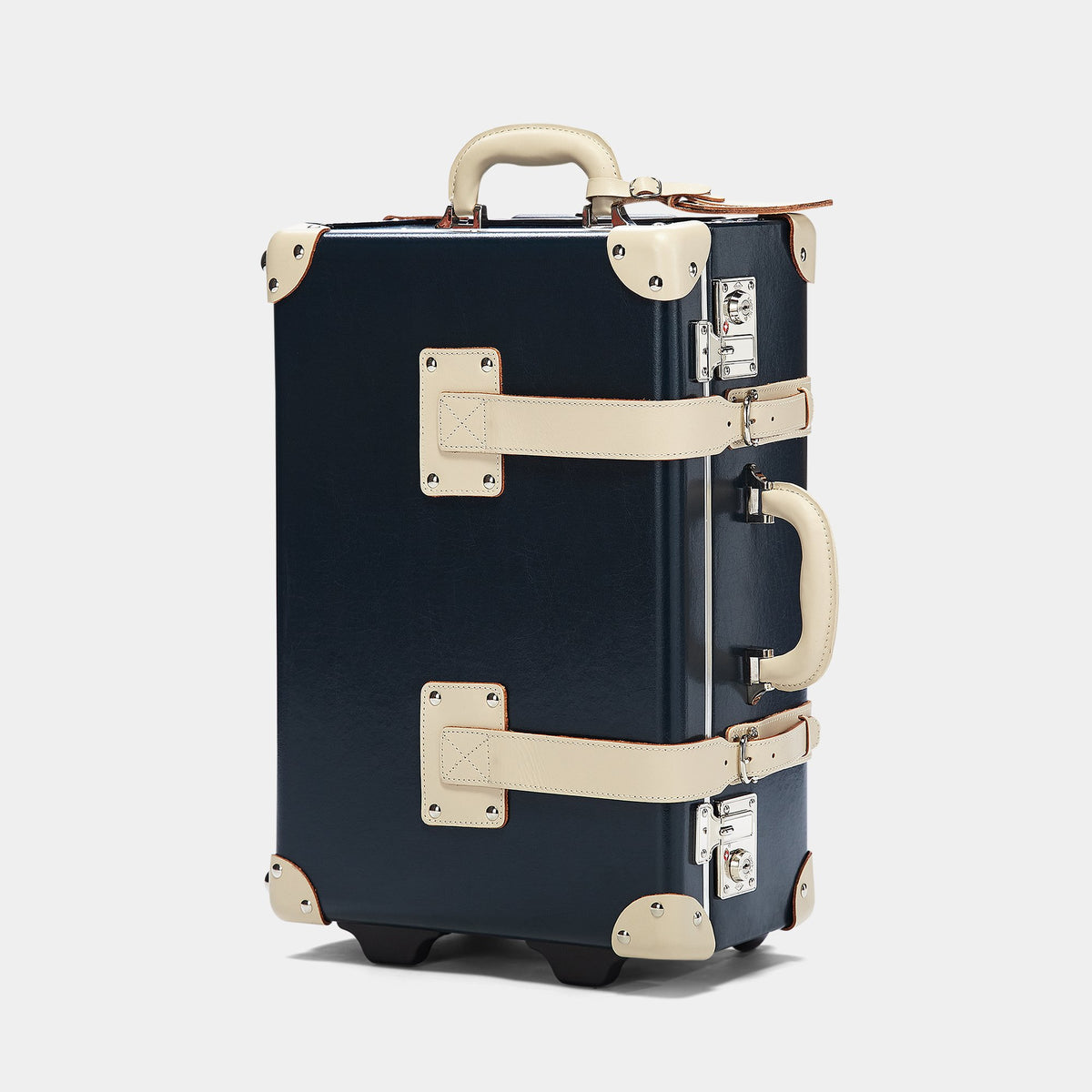 The Anthropologist Carryon in Navy - Vintage Style Leather Case - Exterior Front