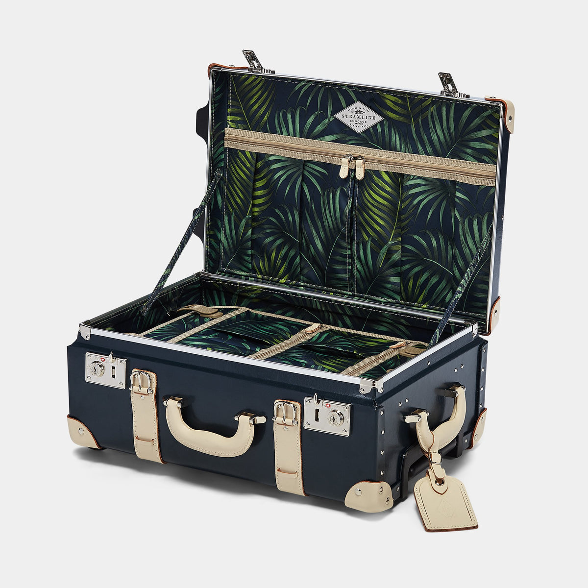 The Anthropologist Carryon in Navy - Vintage Style Leather Case - Interior Front