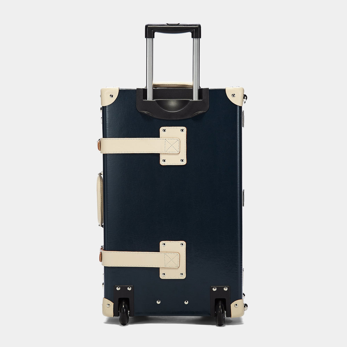 The Anthropologist Stowaway in Navy - Vintage Style Leather Case - Exterior Back with Extendable Handle