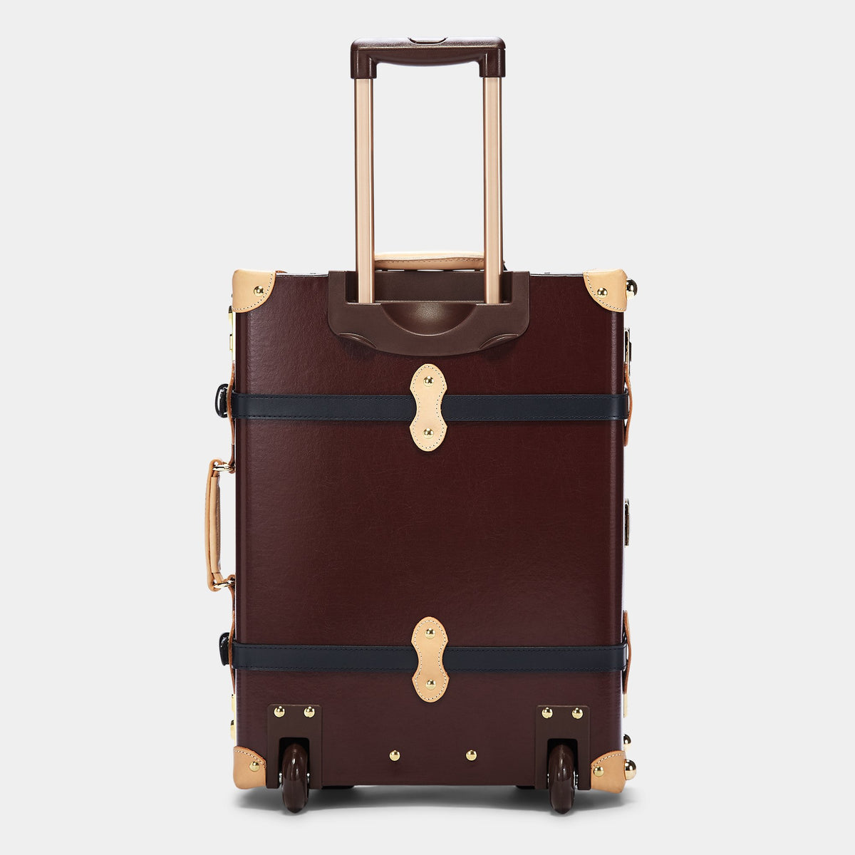 The Architect Carryon in Burgundy - Vintage Style Leather Case - Exterior Back with extendable Handle