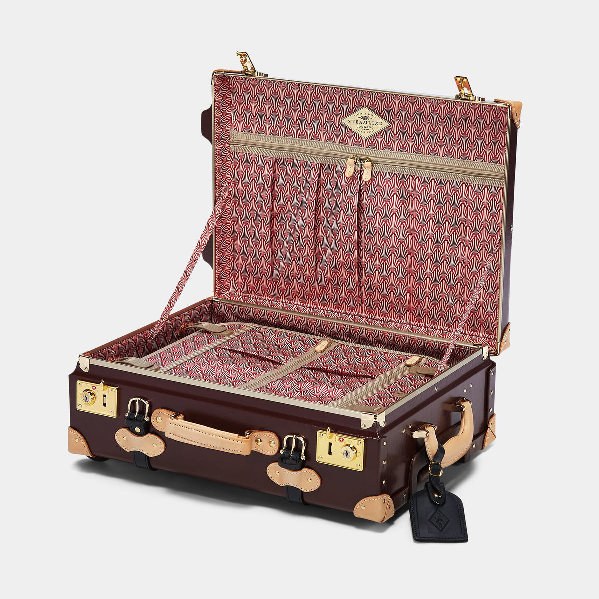 The Architect Carryon in Burgundy - Vintage Style Leather Case - Interior Front