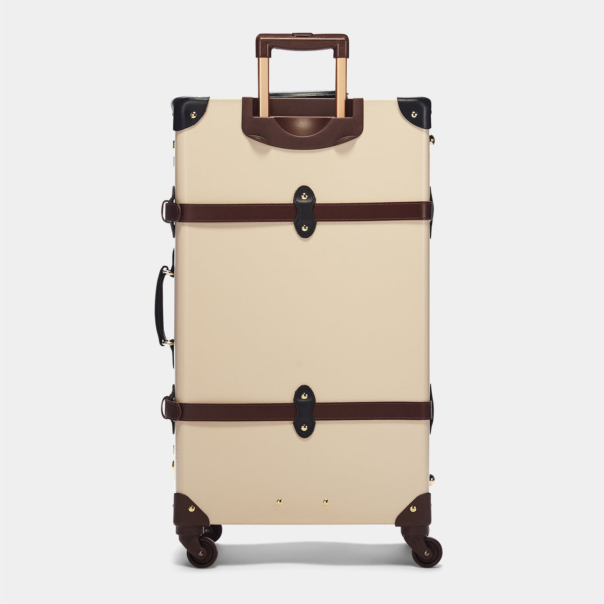 The Architect Spinner  in Cream -Vintage Style Leather Case - Exterior Back with Extendable Handle