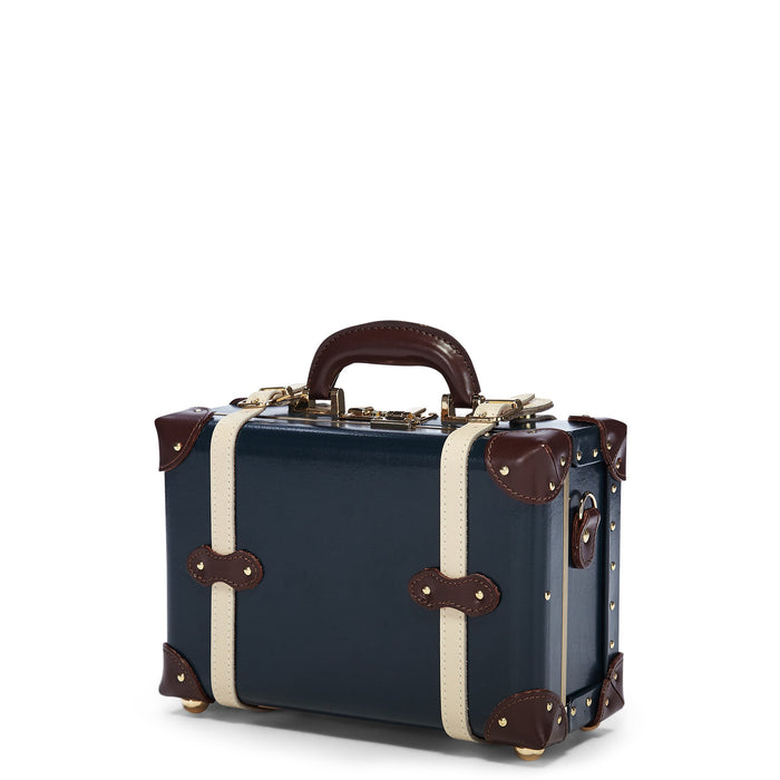 The Architect Vanity in Navy -Vintage Style Leather Case - Exterior Front