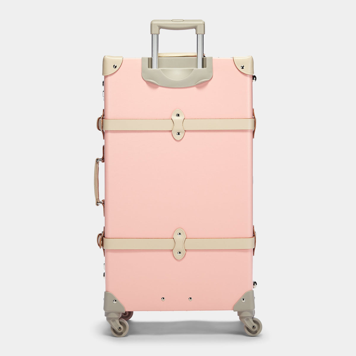 The Botanist Spinner in Pink - Vintage-Inspired Suitcase - Exterior Back with extended handle