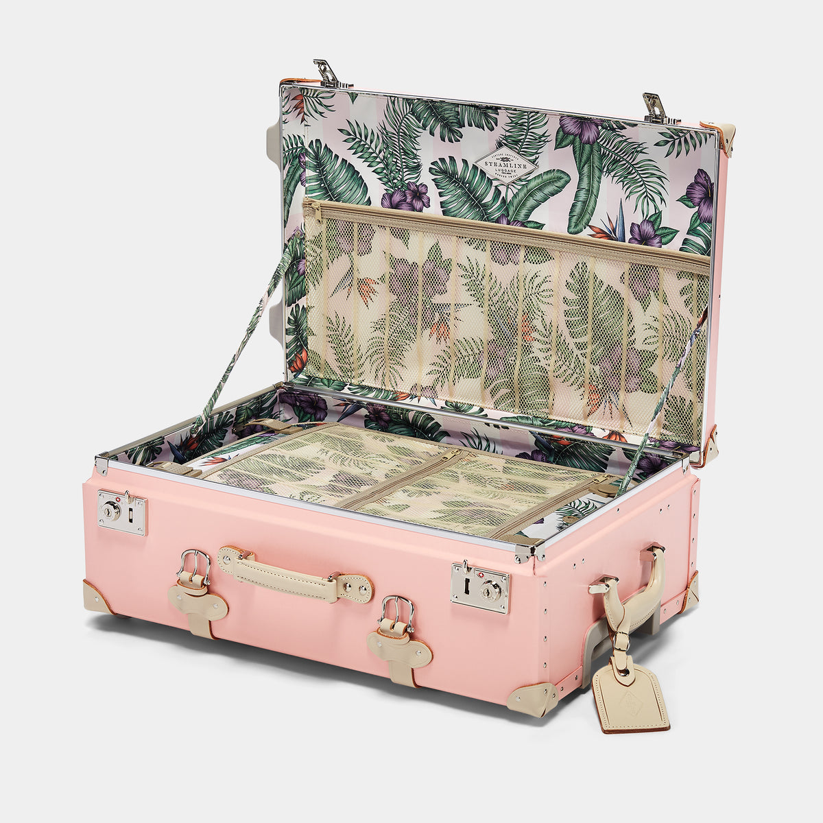 The Botanist Stowaway in Pink - Vintage-Inspired Suitcase - Interior