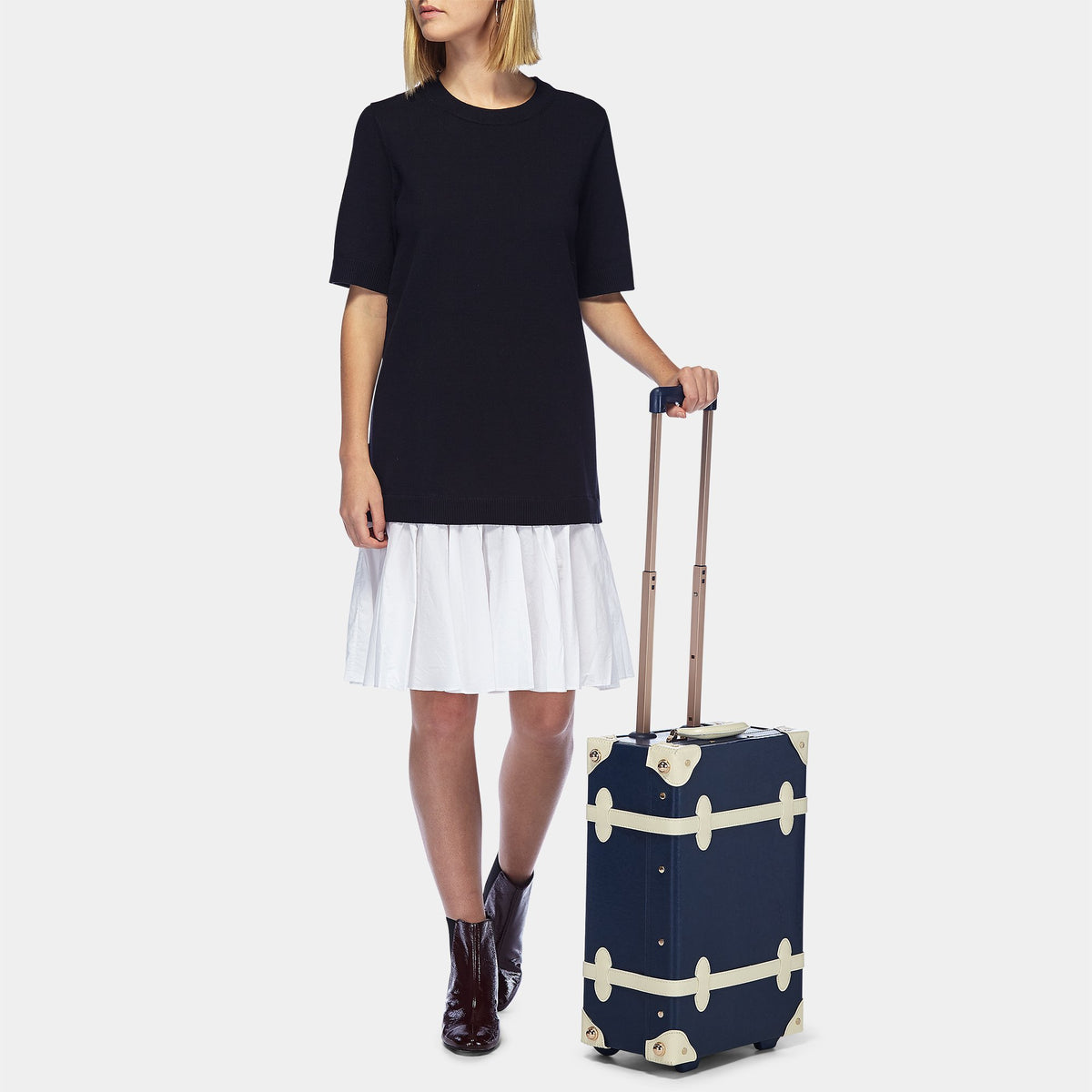 The Entrepreneur Carryon in Navy - Vintage-Inspired Luggage - Exterior Front with Model