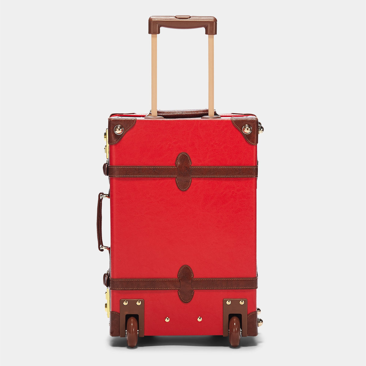 The Entrepreneur Carryon in Red - Vintage-Inspired Vegan Luggage - Exterior Back with Extendable Handle