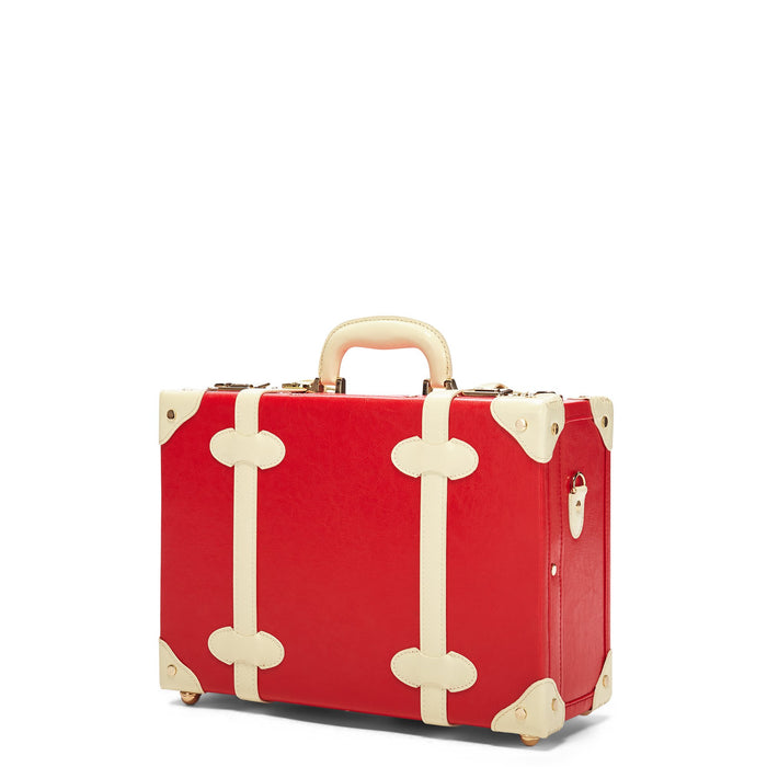 The Entrepreneur Overnighter in Red Lip - Vintage-Inspired Vegan Luggage - Exterior Front