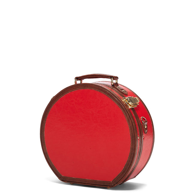The Entrepreneur Hatbox Small in Red - Hat Box Luggage - Exterior Front