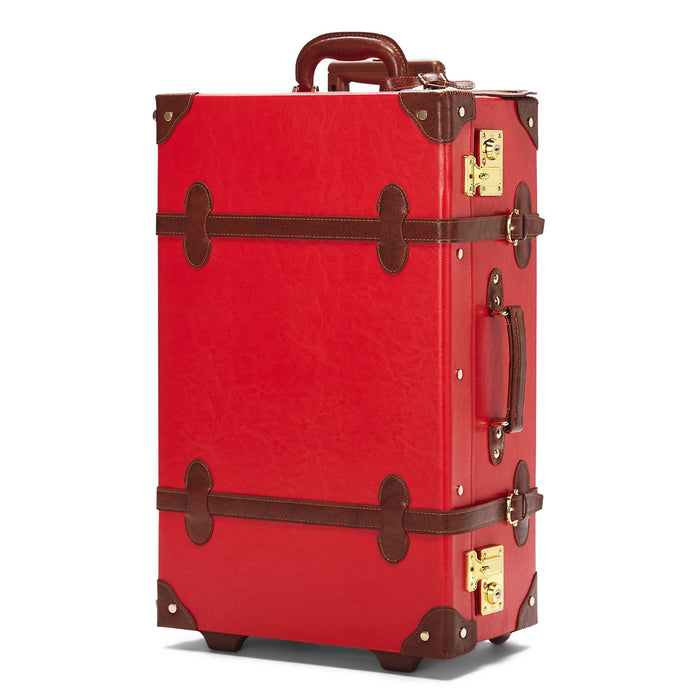The Entrepreneur Stowaway in Red - Vintage-Inspired Vegan Luggage - Exterior Front