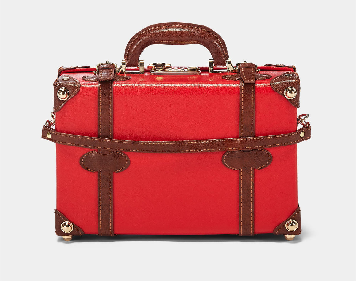 The Entrepreneur Vanity in Red - Vintage-Inspired Vegan Luggage - Exterior Back with Shoulder Strap